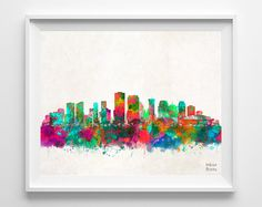 New Orleans Skyline Print Watercolor Poster by InkistPrints New Orleans Skyline, New Skyline, Watercolor Painting Techniques, Watercolor Map, City Painting, Artwork Prints, Louisiana, Illustration Art, Crafty