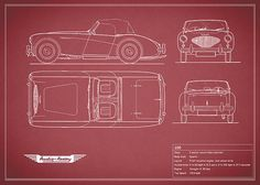 size: Stretched Canvas Print: Austin-Healey by Mark Rogan : Using advanced technology, we print the image directly onto canvas, stretch it onto support bars, and finish it with hand-painted edges and a protective coating. Austin Healey, Frames For Canvas Paintings, Affordable Wall Art, Car Drawings, Painting Edges, Cool Posters, Stretched Canvas Prints, Custom Framing, Cotton Canvas