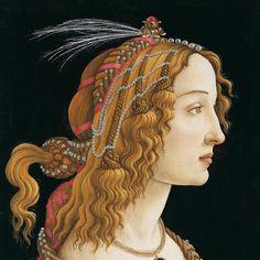 Sandro Botticelli Portrait of a young woman possibly Simonetta Vespucci 1484 #botticelli est le maître de la beauté féminine. Il crée des images si puissantes et si atemporelles que l'on peut véritablement tomber amoureux d'elles. Il utilise encore la technique ancienne de la tempera (peinture à l'œuf) qui fait que l'image n'est pas aussi précise qu'un portrait flamand. Mais qu'importe il rehausse ses figures par des contours noirs plus ou moins fins ce qui lui permet d'attirer notre œil sur…