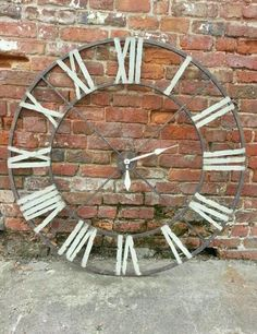 Huge Metal Iron Wall Clock Distressed