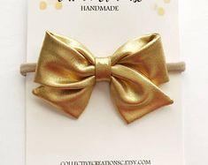 Metallic Gold Bow - Gold Baby Headband - Gold Baby Bows - Gold Bow Clip - Metallic Gold Sailor Bow - Folded Sailor Bow -Metallic Gold Fabric