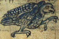 A blue nightingale, rampant, looking much like a hawk.  Kongelige Bibliotek, Gl. kgl. S. 1633 4º, Folio 42r