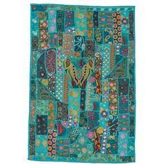 Blue Khambadia Hand Stitched Wall Hanging Hippie Bohemian Indian Block... ($131) ❤ liked on Polyvore featuring home, home decor, wall art, grey, home & living, home décor, wall décor, wall hangings, mandala wall hanging and grey wall art