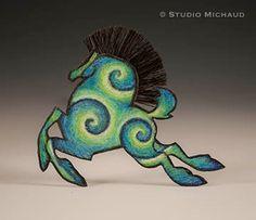 Gorgeous copper muti-media horse pin/brooch by StudioMichaud