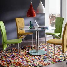 Deska stolu: kulaté bezpečnostní sklo o průměru 100 cm, lakované. Podstava: bezpečnostní sklo lakované noha: kovová pochromovaná. 5 barevných variant stolní desky a podstavy: bílá, taupe, jablko, kari a petrolej. Home Office Furniture, Furniture Sale, Dining Room Furniture, Furniture Design, Dining Table Chairs, Round Dining Table, Tv Stands Uk, Contemporary Dining Table, Modern Contemporary