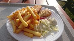Fried fish and chips with cabbage salad #Germany #Rügen