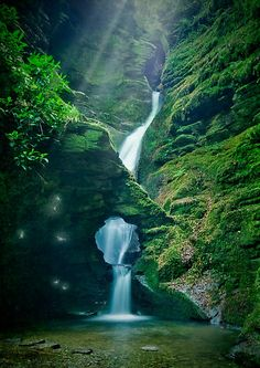 Enchanting waterfall at St Nectan's Knieve , near Tintagel , North Cornwall., England
