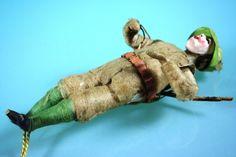 Antique German Christmas Ornament Spun Cotton Hunter w Composit Head C 1900   eBay