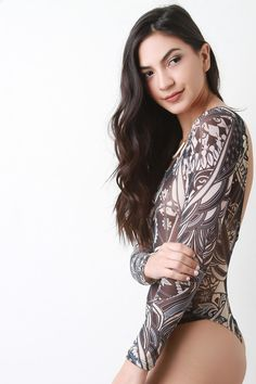 Abstract Long Sleeve Backless Mesh Bodysuit