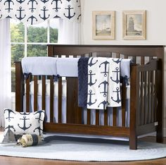 Nautical Crib Bedding | Nautical Baby Bedding | Liz and Roo Fine Baby Bedding