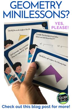 """Teaching geometry can be tricky! There is a TON of math vocabulary and a lot of """"rules"""" to remember. This blog post gives great suggestions on how to use task cards to break instruction into short, meaningful minilessons. Whether you are teaching in person or virtually, we know that short minilessons are the most effective. Check out the post for more! #geometry #elementarygeometry #geometrylessons #CCSS #protractorlessons #symmetrylessons #anglelessons #fourthgrademath Geometry Lessons, Teaching Geometry, Math Lessons, Teaching Tips, Teaching Math, Elementary Math, Upper Elementary, Math Talk, Math Vocabulary"""