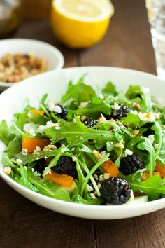 This Arugula blackberry salad has everything you want in a spring salad. With a refreshing vinaigrette, plump blackberries, and peppery arugula, you're going to be a lunchtime hero. primaverakitchen.com