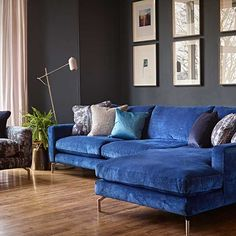 EDITH is pure luxury. A seat that you sink into, Hundreds of fabric options and polished chrome legs. Great for Modern homes and loft living. Luxury, quality and Beauty! Seen here in a luxury rich blue fabric Living Room Sofa, Living Room Decor, Teal Velvet Sofa, Sofa Deals, Best Leather Sofa, Types Of Sofas, Couch Set, Chaise Sofa, Chesterfield Sofa