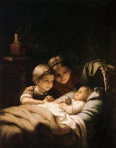 """""""Das junge Geschwisterchen"""" (1855) von Johann Georg Meyer von Bremen (geboren am 28. Oktober 1813 in Bremen, gestorben am 4. Dezember 1886 in Berlin), bedeutsamer Künstler der klassischen deutschen Genremalerei."""