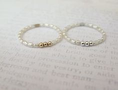 Dainty pearl rings-tiny cultured pearl by GoldenLeafBijoux on Etsy