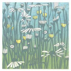 Helen Roddie ~ Daisy Fields ~ Linocut, 240 x 240 mm