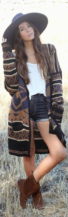 Cardigan Sweater + Wide Brim Hat #festival #style