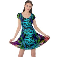 420 ganja pattern, weed leafs, marihujana in colors Cap Sleeve Dress Cap Sleeves, Dresses With Sleeves, Ganja, Fit And Flare, Weed, Dress Outfits, Dots, Summer Dresses, Stylish