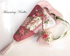 Ribbon embroidery, scissors case