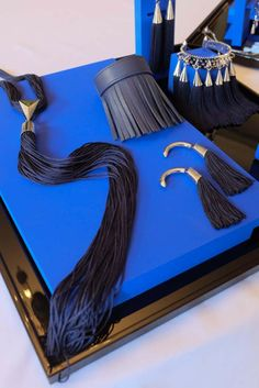 Eddie Borgo: Inspired by Morocco and its blue tiles and textiles, Eddie Borgo showed fringe jewelry that resembles traditional fez tassels. [Photo by Xavier Granet]