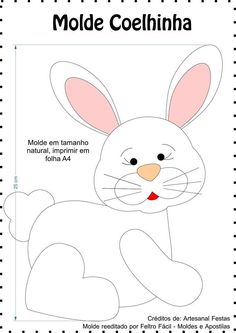 Blog voltado à artesanato em geral. Felt Patterns, Applique Patterns, Craft Patterns, Bunny Crafts, Felt Crafts, Easter Crafts, Sewing Toys, Sewing Crafts, Sewing Projects
