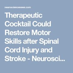 Therapeutic Cocktail Could Restore Motor Skills after Spinal Cord Injury and Stroke - Neuroscience News
