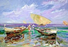 Carlos Giner - Spanish impressionist Impressionist Artists, Aqua Marine, Art Pictures, Art Drawings, Sailing, Spanish, Marines, Graphics, Paintings