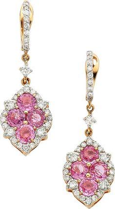Estate Jewelry:Earrings, Sapphire, Diamond, Gold Earrings, Piranesi. ...