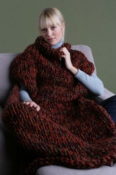 "Knit Sweater Blanket - Not a Slanket and not a Snuggie, this blanket with armholes is the perfect 'people cozy'!   On my ""to-knit"" list"