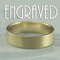 This is our Solid 14K Yellow Gold Flat Wedding Band with professional inside ring engraving! We can fit approximately 30 characters inside a standard size ring and can engrave in either script or block font. Please just let us know what you would like to have engraved and your choice of font in the note to seller at checkout.    This is my modern Straight and Narrow design...perfect for any stylish man! Hand forged from solid 14K yellow gold, it measures 5mm wide by 1mm thick. It will be…