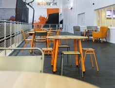 We were thrilled to deliver new product to the new Better Extreme Trampoline Park in Dagenham, fitting out the cafe area with Working Girl Circular Tables, Chairs, Low Stools and Love Chairs for dining and relaxing.   Our Woody Benches were used in the trampoline area, and these along with 2-Seat Capsule Sofas and Hue Coffee Tables were supplied for the multi-purpose function rooms, all in a vibrant orange, blue and grey - with a matching bespoke colourway Knurled Rug to boot!