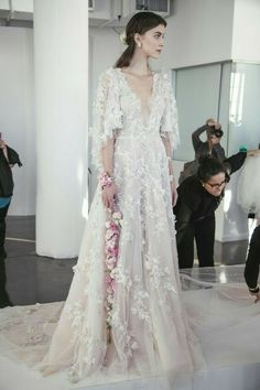 Ethereal Gowns / Backstage / Marchesa Fall 2017 Bridal / Photo The LANE Mikayla'J Wedding, Loves Wedding, Wedding Styles, Wedding Fever, Wedding Wedding Dream Wedding Dresses, Bridal Dresses, Wedding Gowns, Marchesa Bridal, 2017 Bridal, 2017 Wedding, Beautiful Gowns, Beautiful Outfits, Dream Dress