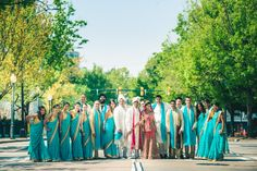 Indian wedding photography at Charlotte, NC Westin Hotel with bridal party