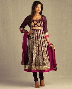 Aubergine Kalidar Suit with Magenta Pink Dupatta - for more follow my Indian Fashion Boards :)