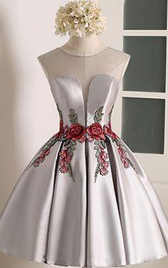 Knee Length A Line V Neckline Cap Sleeve Gray Ruched Appliques Satin Short Homecoming Dress