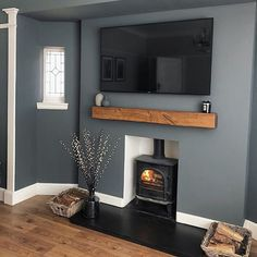 Alcove Ideas Living Room, Feature Wall Living Room, Living Room Lounge, Cottage Living Rooms, Living Room Grey, Home Living Room, Living Room Designs, Fireplace Feature Wall, Oak Beam Fireplace