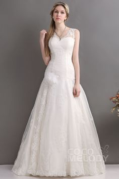 Timeless A-Line V-Neck Court Train Tulle Wedding Dress CWLT130C3