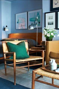 Mid Century Blue Living Room