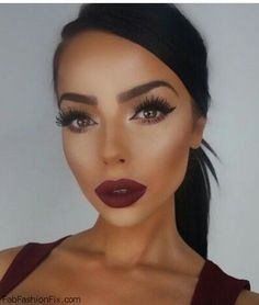 Shaped eyebrows, radiant complexion and deep burgundy lipstick for fall beauty. #makeup #burgundy
