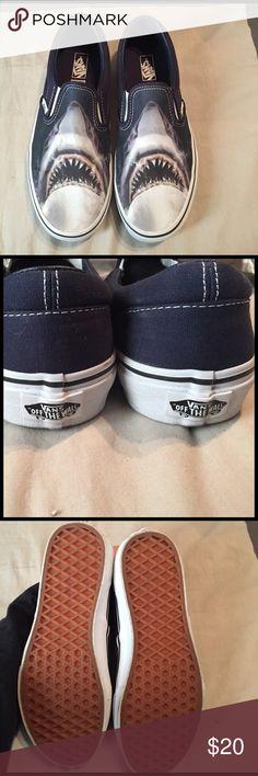 Vans Classic Slip On (Digi Shark) Size women's 7 1/2 Men's 6.0. Only worn a few times!! Vans Shoes Sneakers