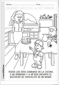"""Mother's Day coloring page (Spanish) -- """"Quiero mucho a mi mama."""