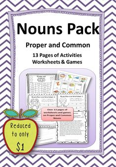 Pack contains 13 pages of common and proper noun literacy centre ideas, games, worksheets and other printables suitable for grammar work.