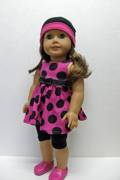 American Girl doll clothes - tunic, capri leggings and hat, - 18 inch doll clothes