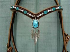 Navajo Turquoise Pendant w/Feathers Headstall - Inspired Turquoise Red Turf Ranch Custom~ Rocking Your World Since The Year 2000!