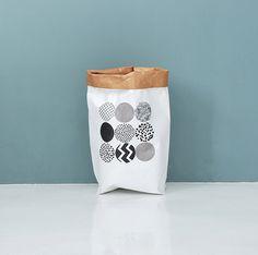 Waschbar Kraft Papiertüte / waschbar Papierkorb / kleine Speicher / Küche Körbe / Papier Beutel / Papier Körbe / waschbar Papiertüten [Punkte]