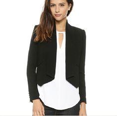 2015 New Fashion Classic Dovetail Asymmetrical Hem Jacket Shoulder Pads Tuxedo Suit Casual Women Blazers Suit Jackets For Women, Blazers For Women, Women Blazer, Women's Jackets, Tuxedo Suit, Tuxedo Jacket, Casual Work Outfits, Work Casual, Women's Casual