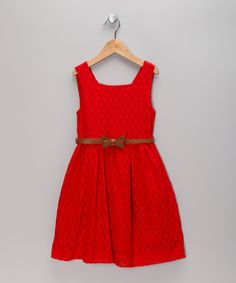 Vintage-inspired lace becomes the showstopper of this lightweight and airy dress. A simple silhouette wears easily, while the bow-adorned belt lends a stylish cinch to the waist.Includes dress and beltCottonMachine wash; dry flatImported