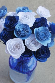 Blue and White Paper Flower Bouquet - Wedding -  Baby Boy Shower  - Centerpiece - Home Decor - Party