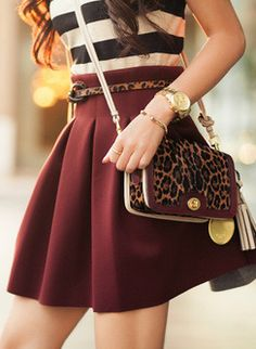 stripes/burgundy/leopard print