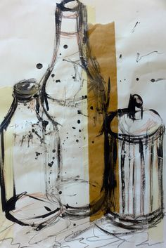 I like this collage because of its uniqueness. The brown and sand-coloured tones add individuality, which makes the two bottles and sugar container stand out. The shapes are clear and are simple yet very geometrical.